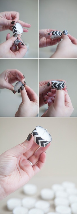 Look at this great tutorial on how to jazz up simple tea lights with every crafters new best friend - WASHI TAPE! This is a favor idea, or for decor!