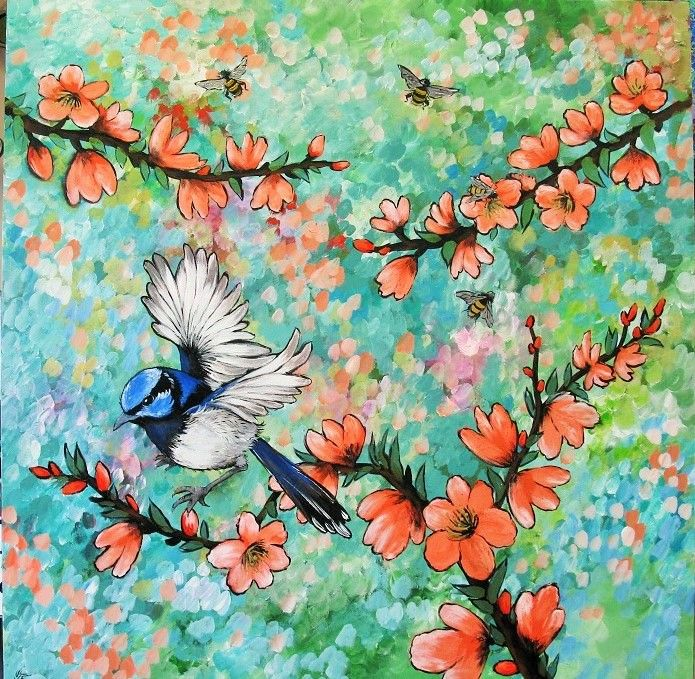 """""""Colours of the Garden"""" Acrylic on canvas, 100cm x 100cm...by Sally Ford"""