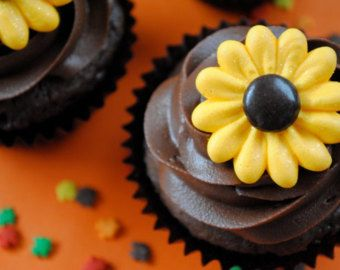 Royal Icing Flower Cupcake Topper-  Sparkling Wild Sunflowers with Brown Milk Chocolate Candy Center (24)