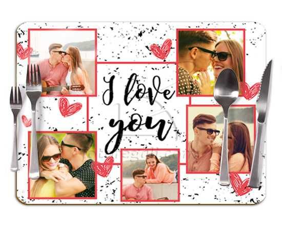 Tovaglietta in sughero I love you collage