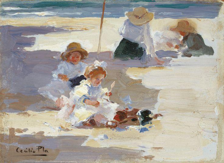 Cecilio Pla. Jugando en la playa, s.f. Colección Carmen Thyssen-Bornemisza en préstamo gratuito al Museo Carmen Thyssen Málaga