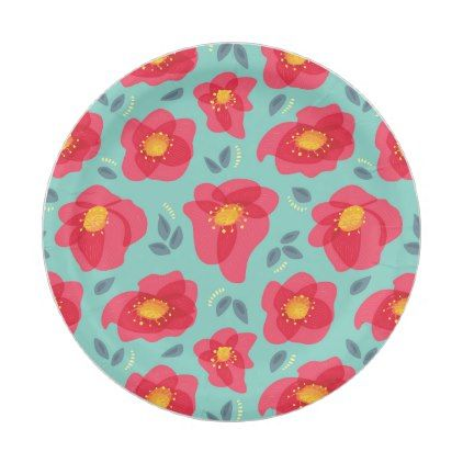 Spring Floral Pattern With Bright Pink Petals Paper Plate - pattern sample design template diy cyo customize