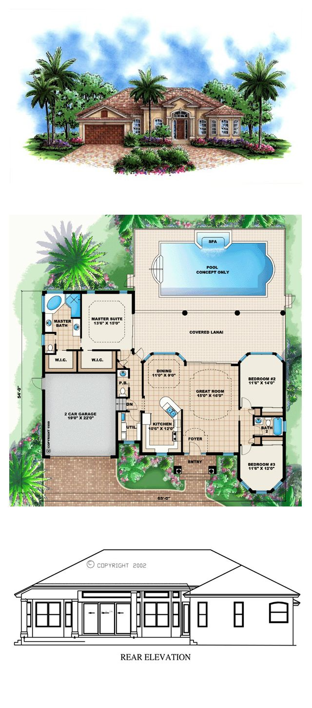 352 best california florida house images on pinterest home plans florida style cool house plan id chp 46835 total living space 1786