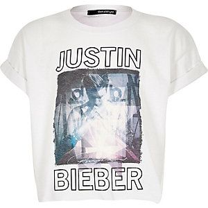 Girls white Bieber print cropped t-shirt