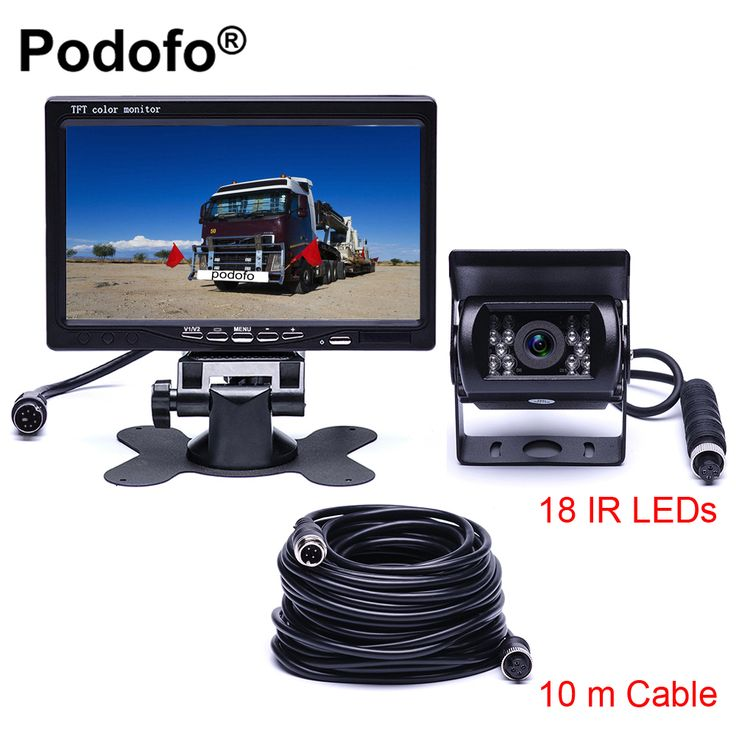 best price podofo dc 12v 24v 7tft lcd car monitor display 4 pin ir night vision rear view camera for bus #trailer #car