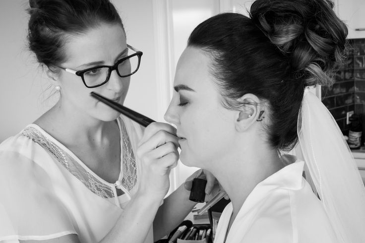Johanna Watts Wedding Photography, The Bride getting her makeup done before her special day; Hair, Makeup, vail