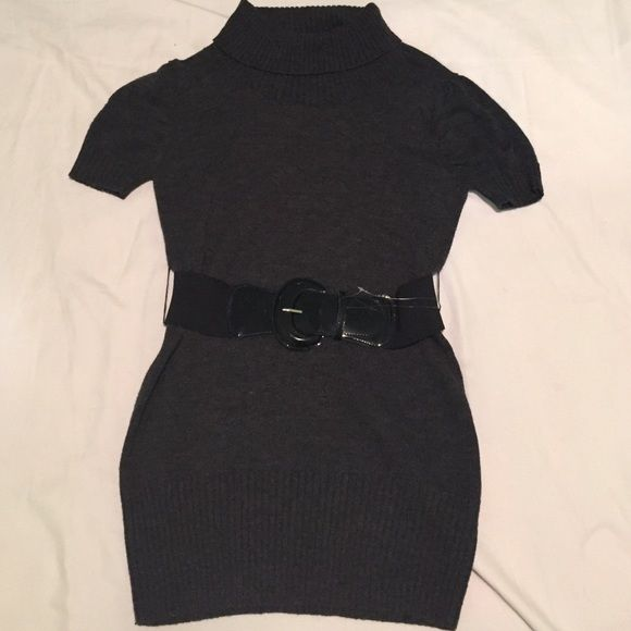 Charcoal grey sweater dress size XL Brand new charcoal grey with black belt sweater dress, 100% acrylic, size XL 10% off 2 or more bundled items Byer California Dresses