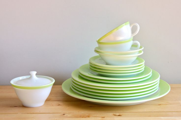 Lime Green Pyrex Dishes - Vintage 1950s Bright Green Milkglass Dinnerware Set with Serving Pieces (17 piece set). $85.00, via Etsy.