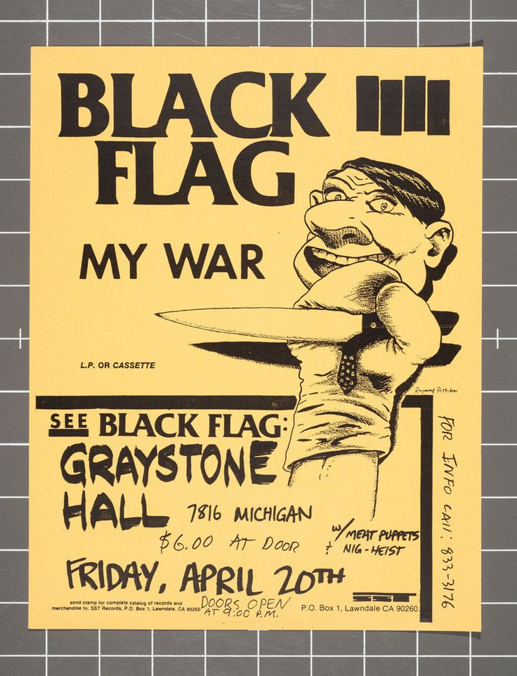 Black Flag / Meat Puppets / Nig Heist Nigheist flyer Graystone Detroit punk kbd
