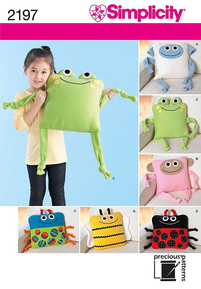 Simplicity 2197 Sewing Pattern Cute Kids Animal Pillow Monkey Bee Frog Ladybug…