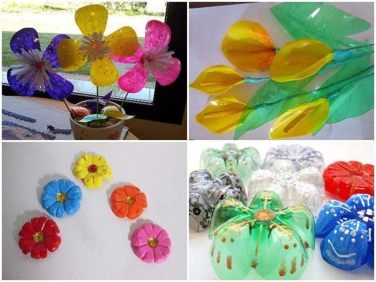 flores hechas con botellas de plastico recicladas