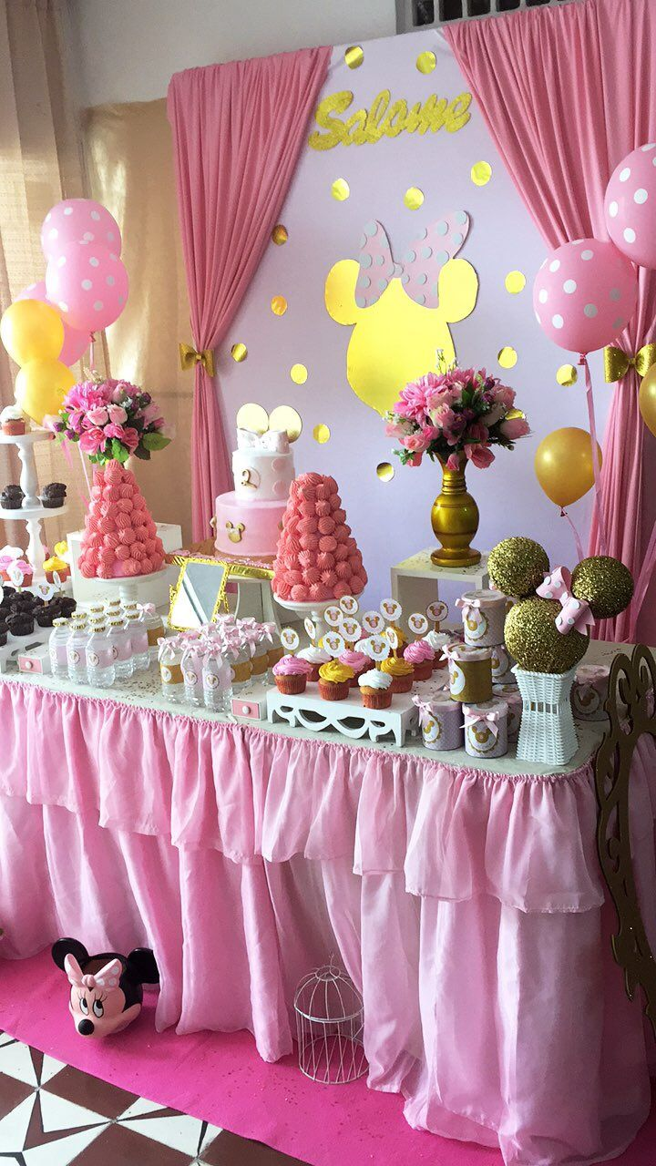 Fiesta baby minnie rosa gold and pink minnie mouse party - Mousse decoration ...