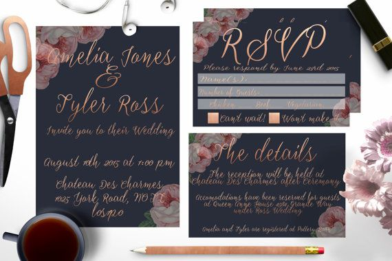 Navy and Rose Gold Wedding invitation set by Opheliafpg on Etsy