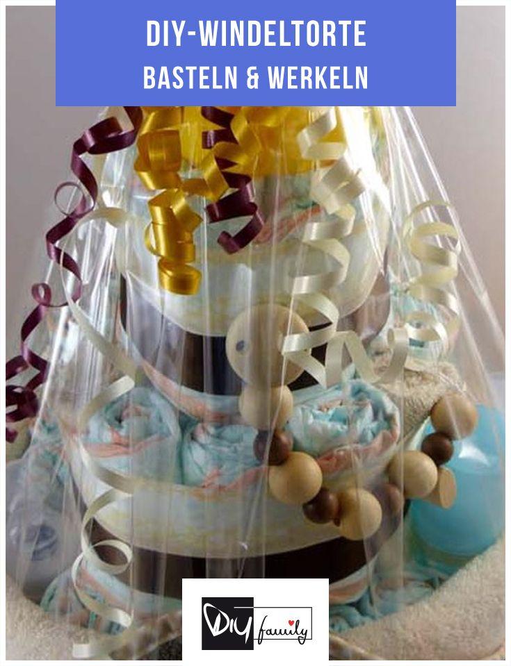 Trendige Windeltorte selbst gemacht  #diy, #diaper, #baby, #present, #birthday, #birth