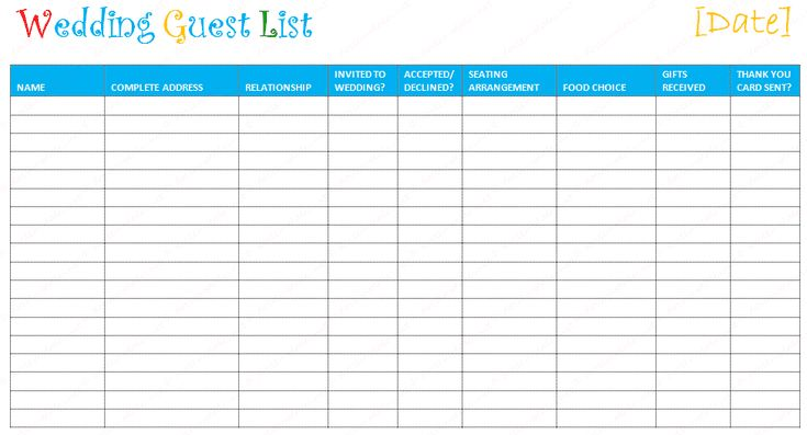 7 Free Wedding Templates You Can Use to Create Your Guest List: Free Wedding Guest List Template at Document Template