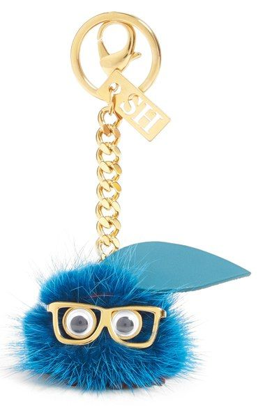 Sophie Hulme 'Betty Blueberry' Genuine Mink Fur Pompom Bag Charm available at #Nordstrom
