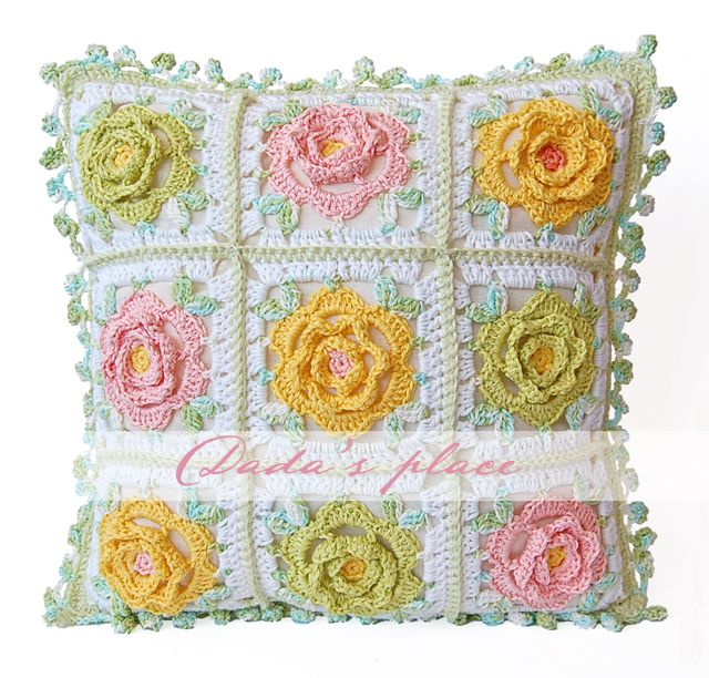 Dada's place: Japanese Flower Crochet Cushion. Pattern from japanese book - 1 row instead of 3 around the flower
