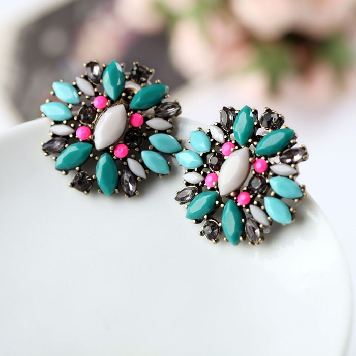 Charming Artificial Gemstone Stud Earrings With Multicolor $7.98