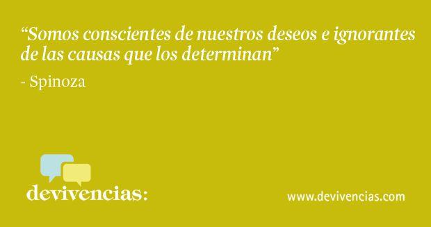 somos conscientes de nuestros deseos e ignorantes de las causa que los determinan. Spinoza