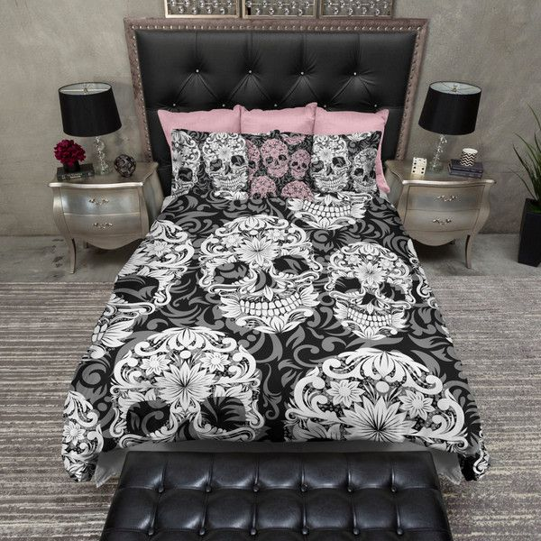 Lightweight Sugar Skull Bedding Beautiful Scroll Work With Pretty... ($119) ❤ liked on Polyvore featuring home, bed & bath, bedding, duvet covers, home & living, white, king duvet, king size duvet, black and white pillow cases and cal king bedding