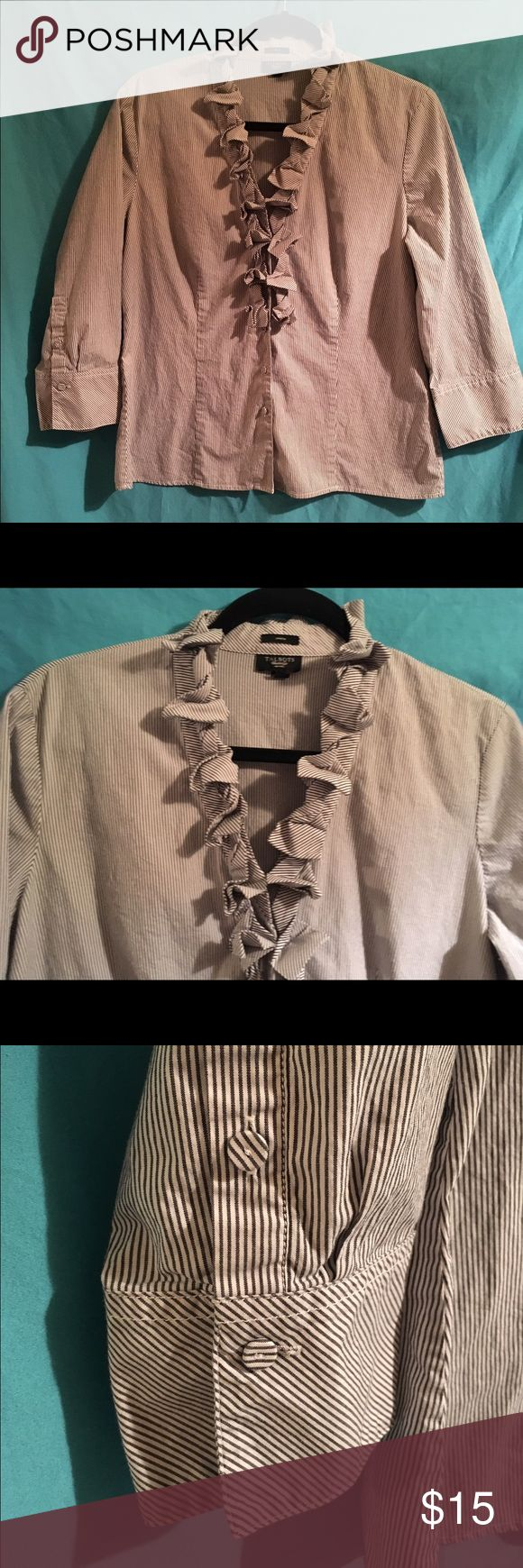 Ruffle Trim Button Down Pretty button down shirt. The stripes are dark grey and white. Talbots Tops Button Down Shirts