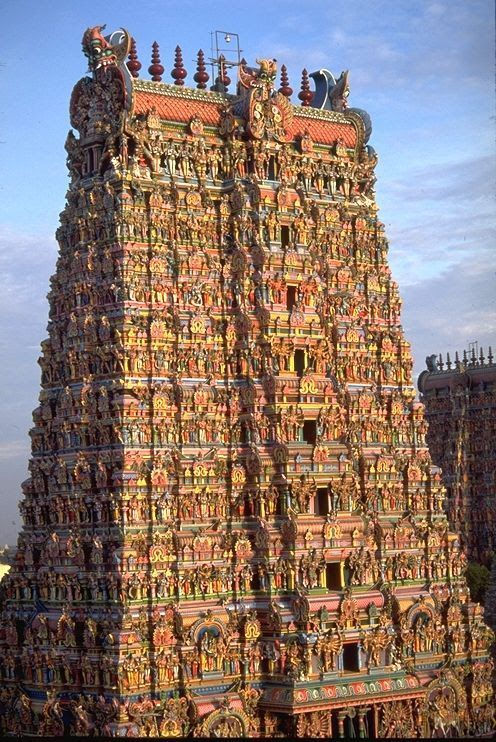 Meenakshi Amman Temple is a historic Hindu temple located on the southern bank of the Vaigai River in the temple city of Madurai, Tamil Nadu, India. It is dedicated to Parvati, known as Meenakshi, and her consort, Shiva, here named Sundareswarar.