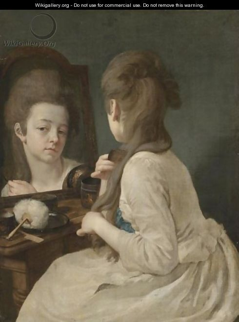 An Interior With A Young Lady At Her Toilet, Combing Her Hair Before A Mirror - Johann Anton de Peters