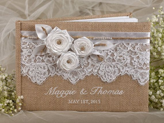 Burlap Rustic Wedding Guest Book, Rustic Guestbook, Shabby Chic Burlap Photo Album, Lace , custom colors , embroidery names