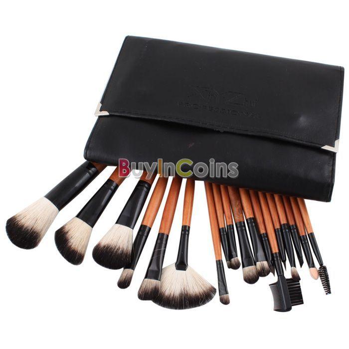 Pro 18 PCS Makeup Cosmetic Brushes Eyeshadow Blush Brush Set Kit Roll Up Pouch -- BuyinCoins.com