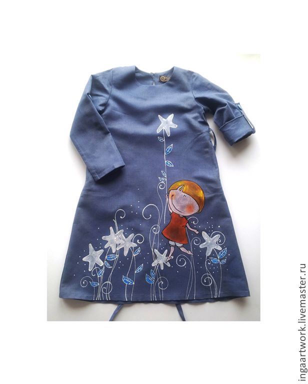 """Купить Льняное детское платье. """"Прогулка со звездами"""" Ручная роспись. - серый, льняное платье"""