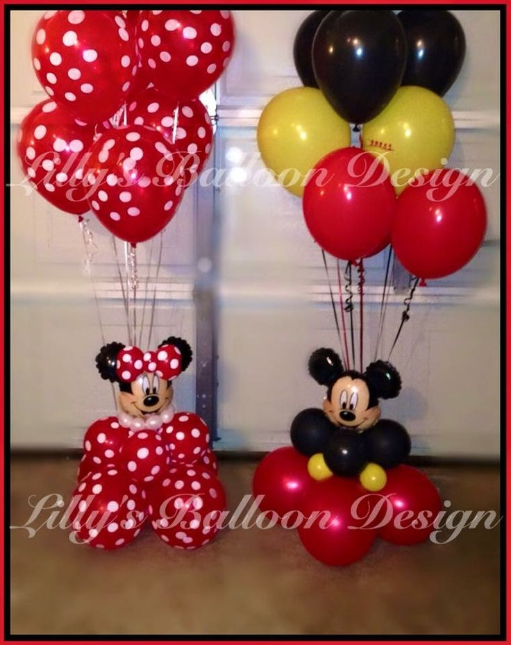 Minnie mickey balloon bouquets and centerpieces globos for Balloon arrangement ideas