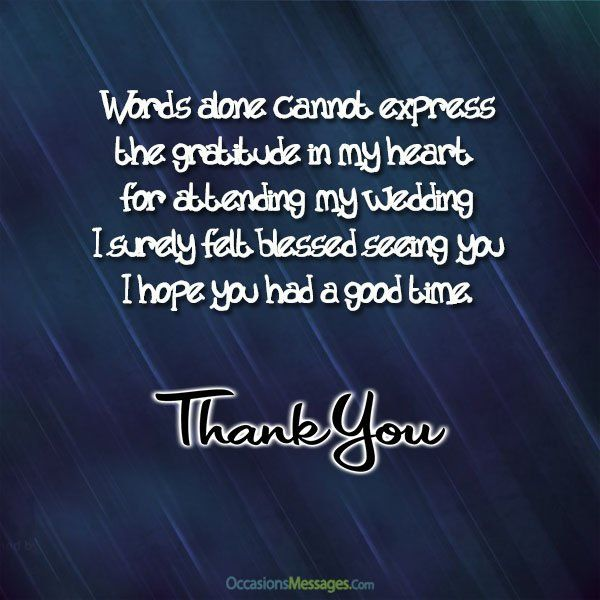 Https Www Occasionsmessages Com Wedding Thank You Messages Wedding Thank You Messages Best Thank You Message Messages