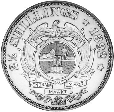 1892-1897 SOUTH AFRICA 2-1/2 Shillings reverse. (1893 & 1895 rare)