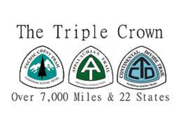 The Triple Crown of Hiking informally refers to the three major U.S. long distance hiking trails: Pacific Crest Trail, Appalachian Trail, and Continental Divide Trail. The total length of the three trails is about 7,900 miles; vertical gain is more than 1,000,000 feet (190 miles). A total of 22 states are visited if the three trails are completed.