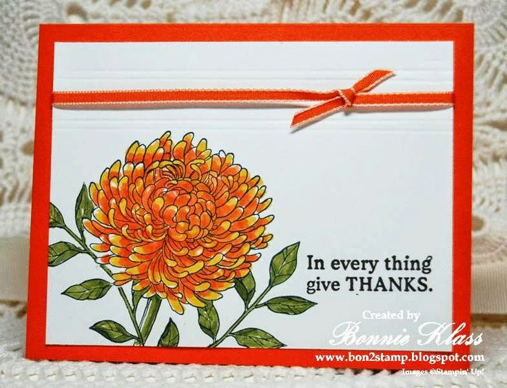 Stampin' Up! ... handmade Thanksgiving card from Stamping with Klass ... gorgeous chrysanthemum from Forever Florals colored with oranges and yellow Blendies ... like the sentiment ...