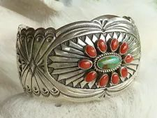 coral & turquoise cuff bracelet