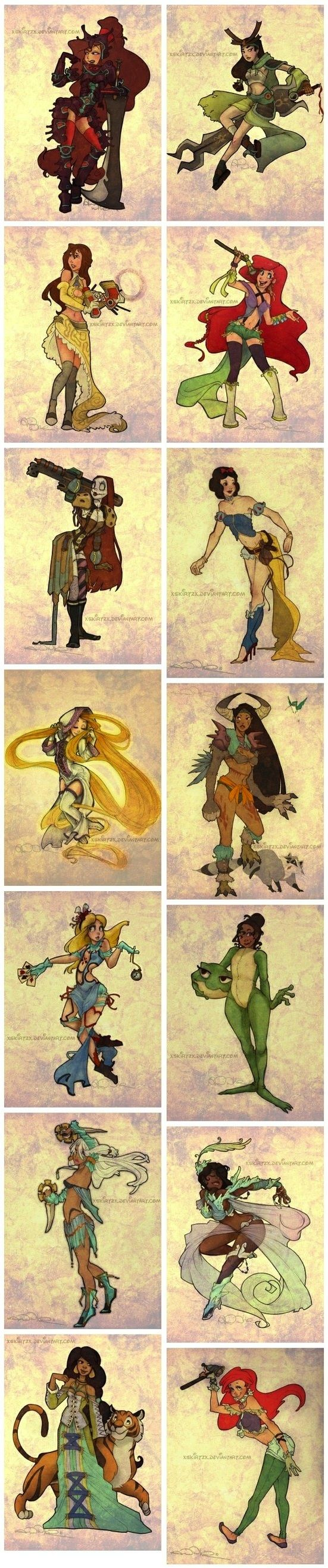 Steampunk Disney Princesses? Yes, please.