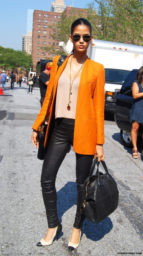 Orange Blazer + Leather Pants #cbfallspree @Mandy Wade Costa Blanca
