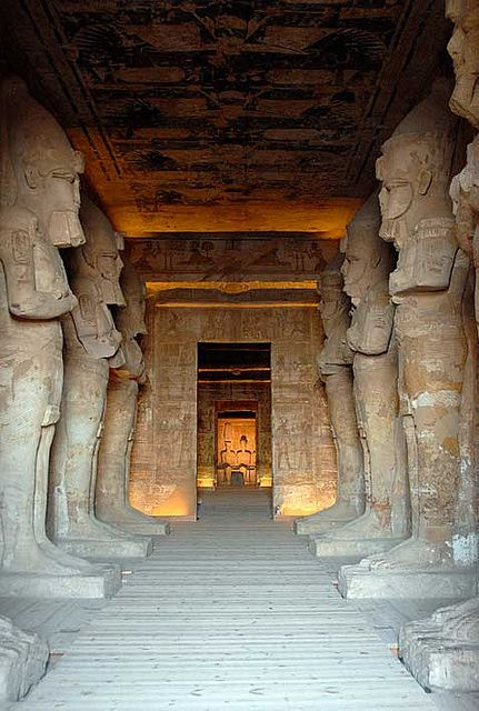 Twin Temples -  built by Ramsses II in 1264 BC in the southern province of Nubia, Egypt. Over the centuries they were completely covered by sand. They were rediscovered in 1813 by a boy named Abu Simbel, who led a British archeologist to them.