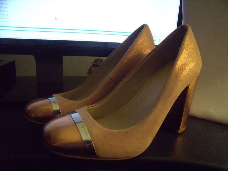Calvin Klein Women s Pumps Size 5.5 -Rose Gold Patent heels & Toes & Suede | eBay