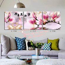 modern duvar sanatı ev dekorasyon baskılı yağlıboya resimler 3 adet soyut çince pembe manolya beyaz kuğu çift baskılar(China (Mainland))