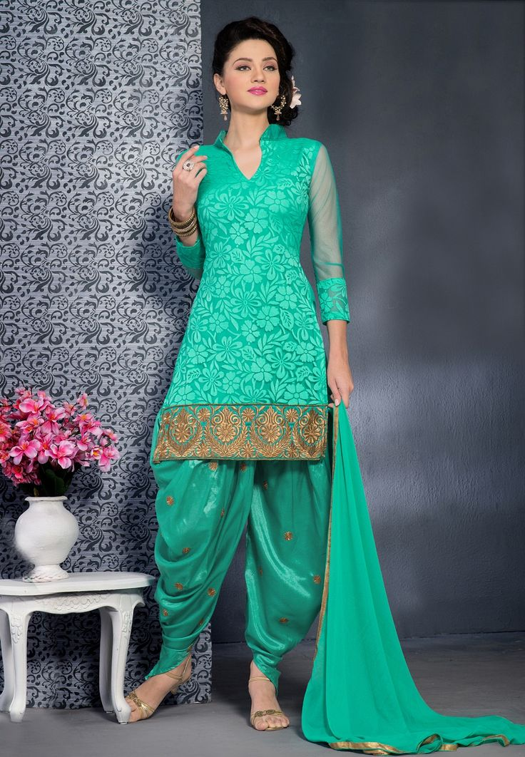 Green Brasso Style Designer Punjabisalwarsuits With