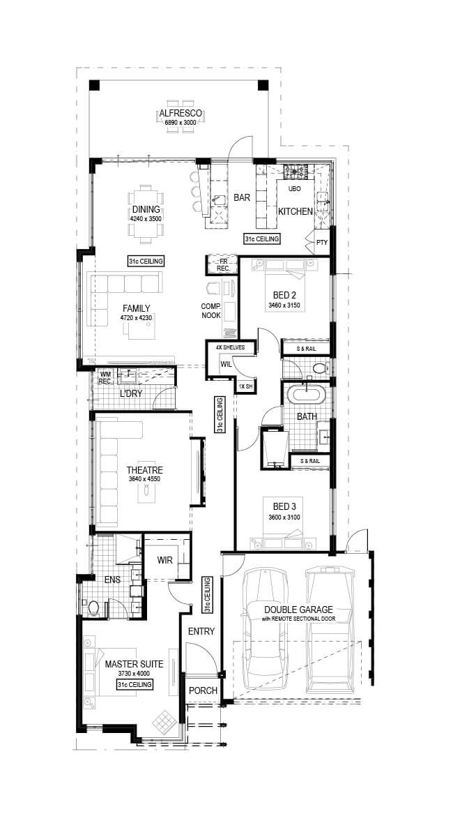 The Entertainer 3 Bed 2 Bath 12 5m Wide 238m2 Display Home In Wellard Open 2 5pm Mon Wed 1 5pm Sat 12 5pm Sun House Design House Plans Display Homes