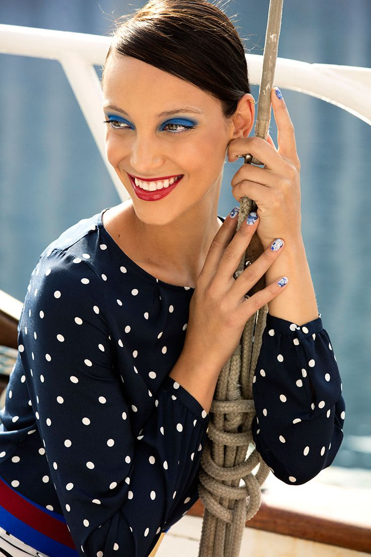 Timelessly chic and classic, nautical gets a bold 2016 makeover with bright red lips and striking blue eyes.