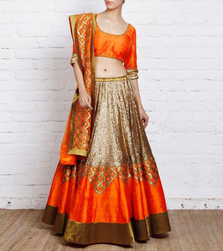 Priyal Prakash - Orange Raw Silk Lehenga Set CLICK ON THE PHOTO TO SHOP! :)