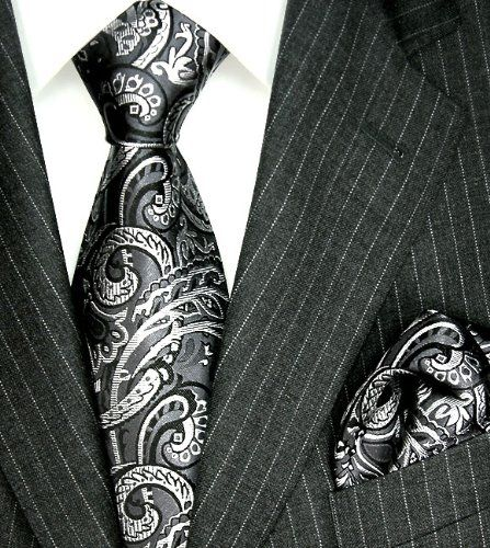 LORENZO CANA Luxury Italian Pure Silk Woven Tie Hanky Set Black White Paisley 3600701 Brand : LORENZO CANA. Men's woven Silk Tie Set - Excellent Quality. 100% Pure Silk. Hand Made , Jacquard Woven Silk. Designer Neck Tie Set.  #LORENZOCANA #Apparel