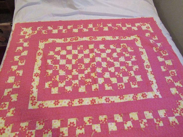 "Hand Made Sewed Pink Child's Girls Crib Throw Blanket Block Quilt 55"" x 44"""