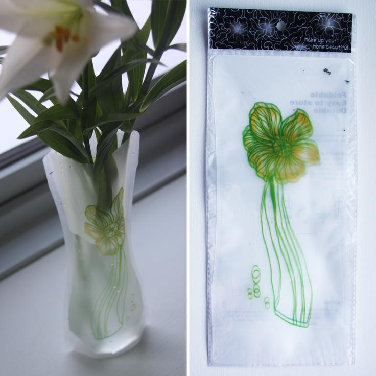 Foldbar vase, Grøn/gul blomst, 15,-
