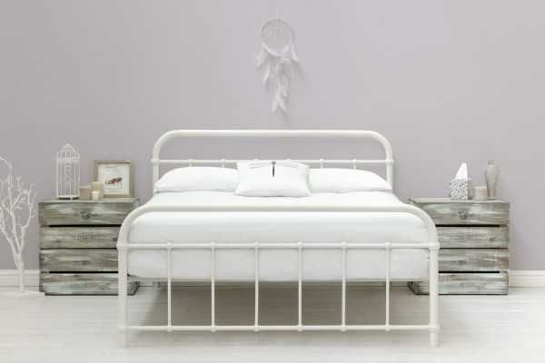 Henley Victorian Hospital Style White Metal Bed Frame Single Double King Size White Metal Bed King Metal