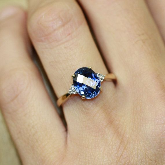 Only $199, this makes for a perfect gift to myself! | Oval Sapphire Solitaire Engagement Ring in 10k Yellow by LuxCrown